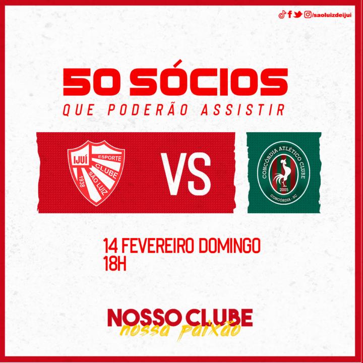 50 sócios poderão assistir São Luiz x Concórdia/SC